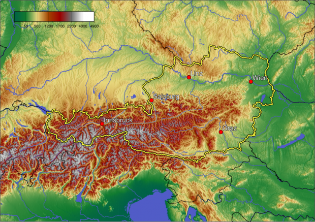 Mapa físico de Austria 2005