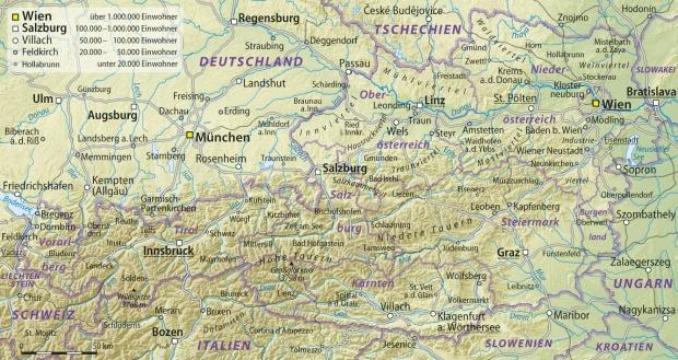 Mapa físico de Austria 2009