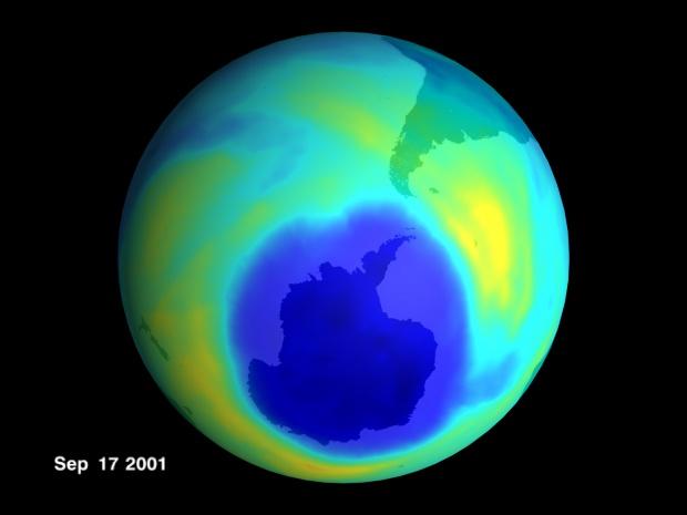 Agujero de ozono en la Antártida Septiembre 2001