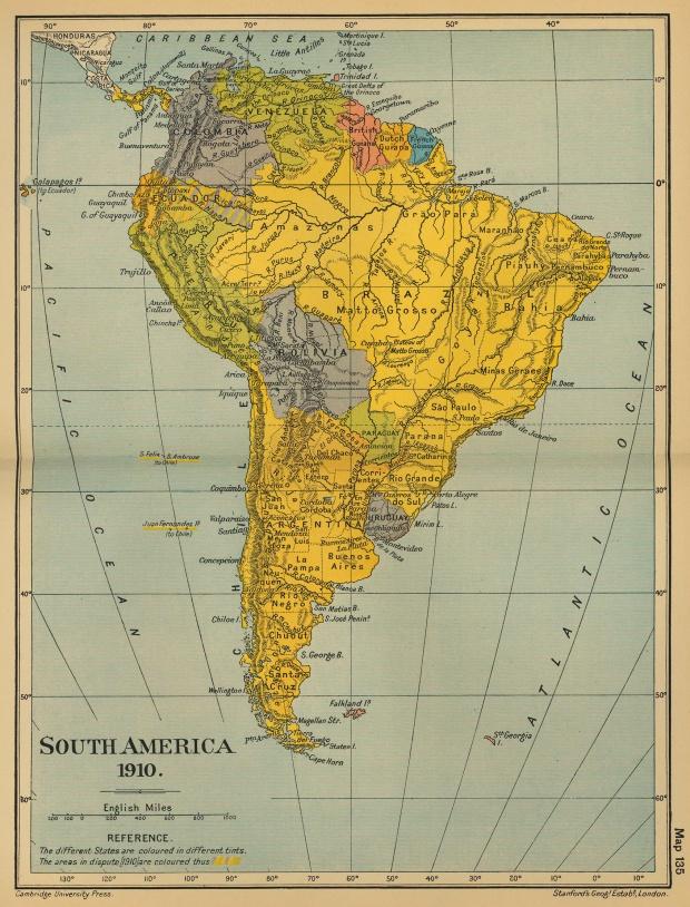 América del Sur en 1910