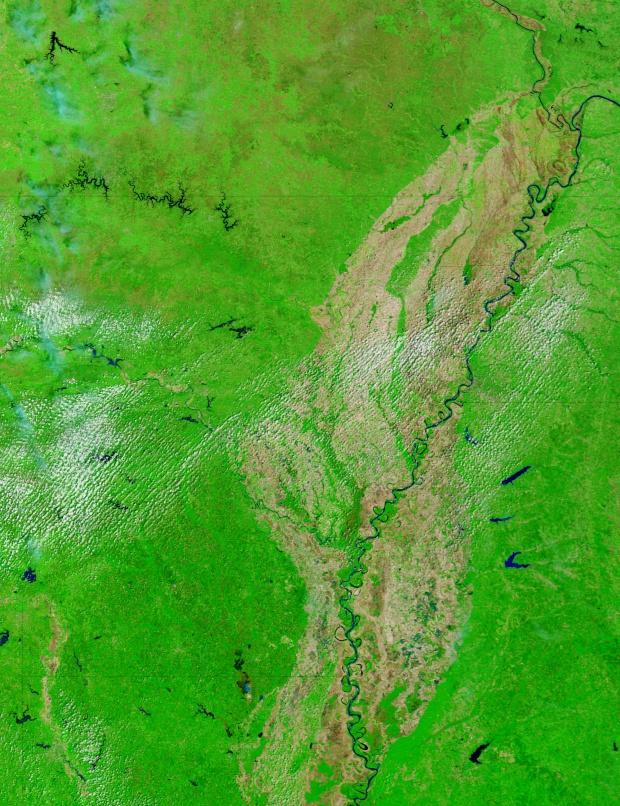 Arkansas (antes de las inundaciones, falso color)