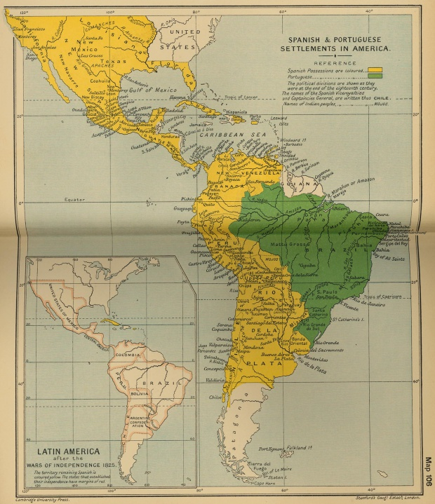 Asentamientos español y portugués en América, final del siglo XVIII