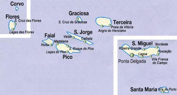 Autonomous Region of Azores Map, Portugal