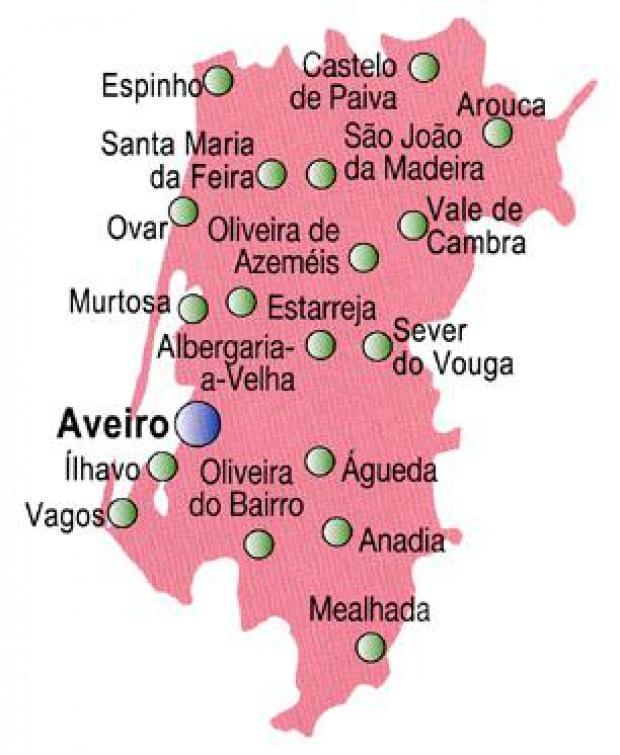 Aveiro District Map, Portugal