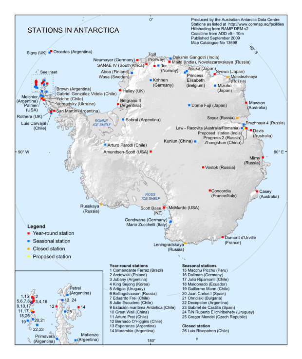 Bases de investigaciones en la Antártida 2009