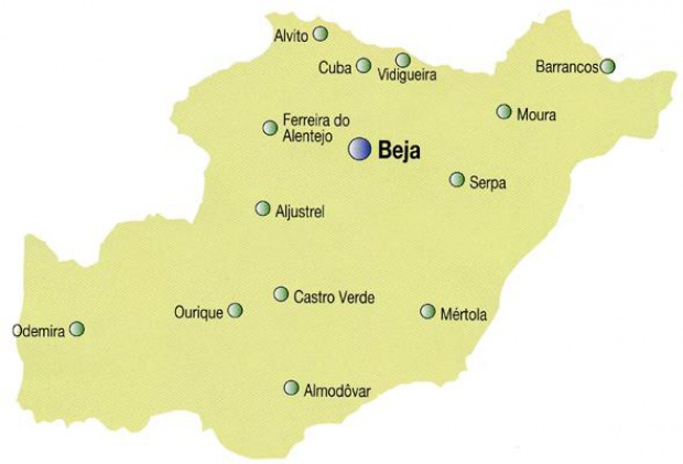 Beja District Map, Portugal