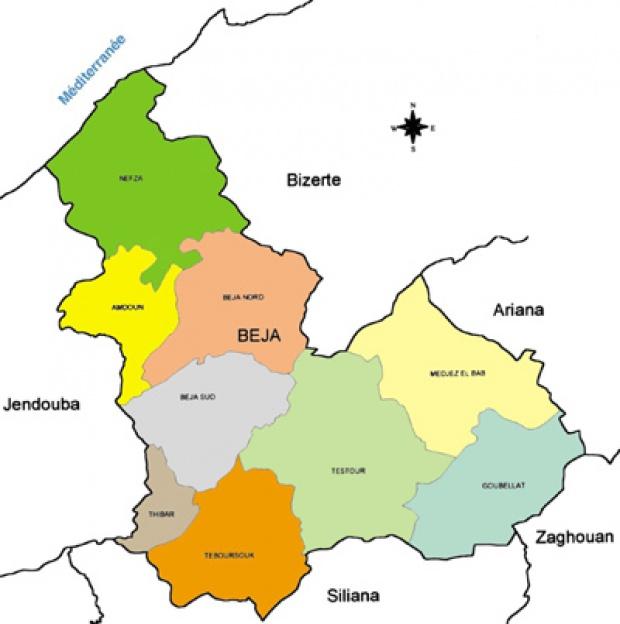 Béja Governorate Map, Tunisia