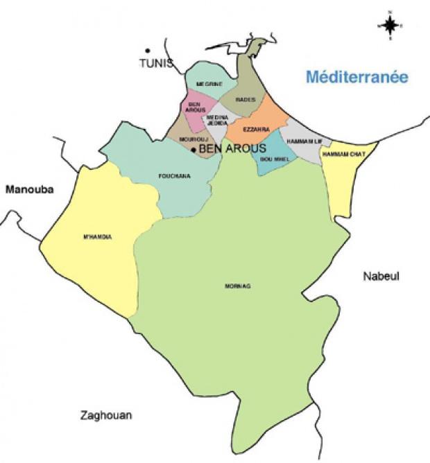 Ben Arous Governorate Map, Tunisia