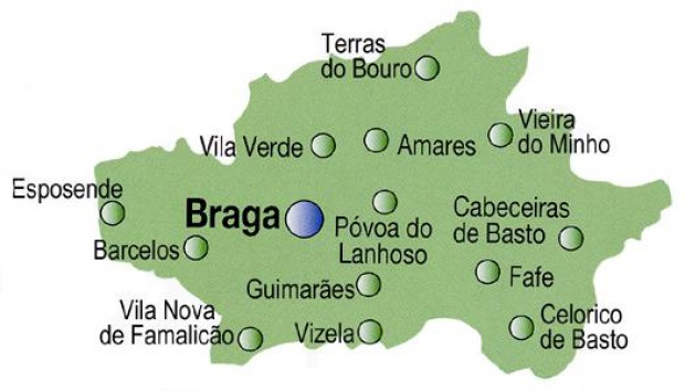 Braga District Map, Portugal