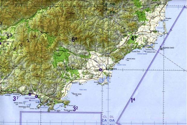 Carta Aeronáutica del Sudeste de la Isla de Hainan, China