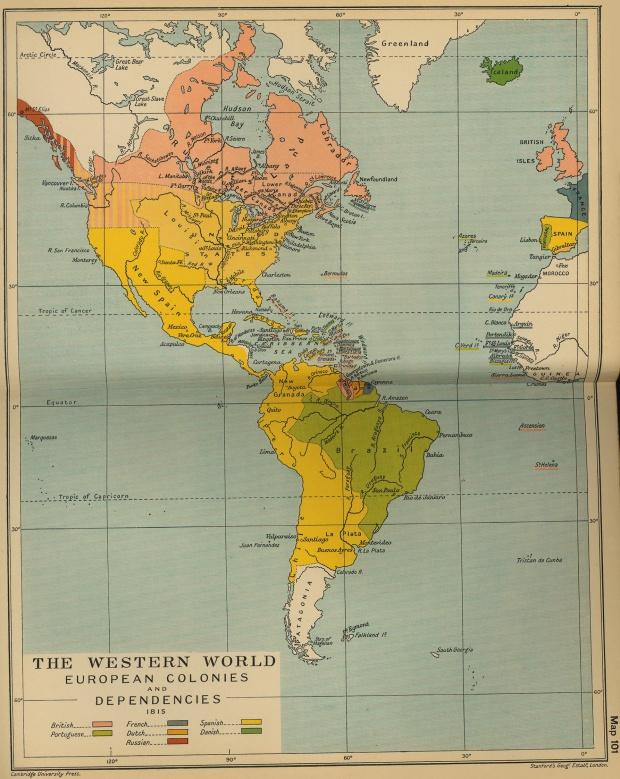 Colonias y dependencias europeas en América 1815