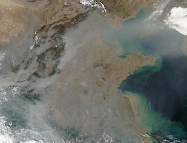 Contaminación encima de China oriental