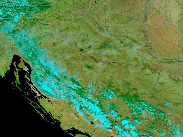 Croacia (antes de las inundaciones, falso color)