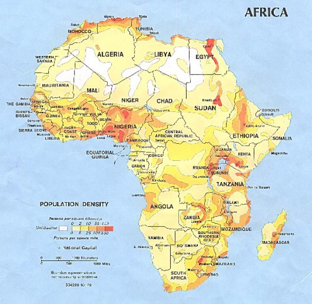 Densidad de Población de África 1979