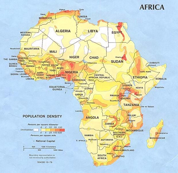 Densidad de Población en África 1979