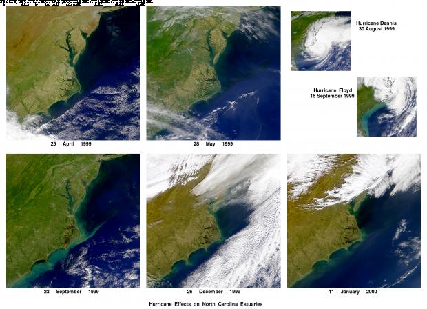 Efectos de los huracanes Dennis y Floyd en Carolina del Norte