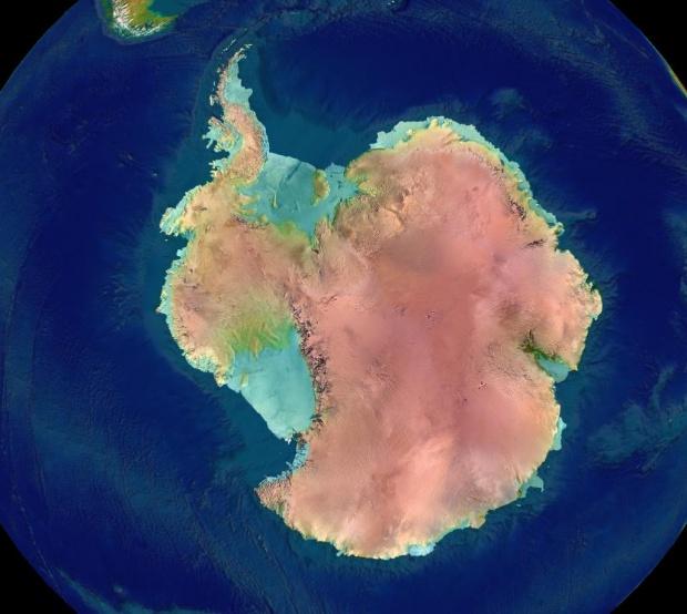 Elevación topográfica de la Antártica