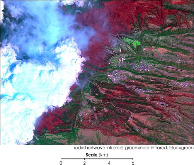 Extensión del fuego de Los Alamos visto por Landsat 7