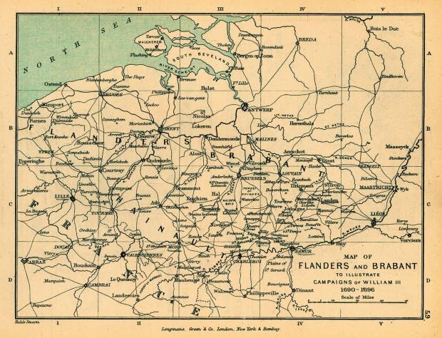 Flandes y Brabante, Ilustrando la Campaña of Guillermo III, 1690 - 1696