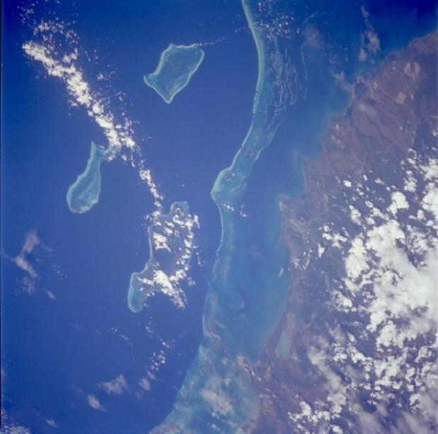 Foto, Image Satélite de los Arrecifes e Islas de Belice
