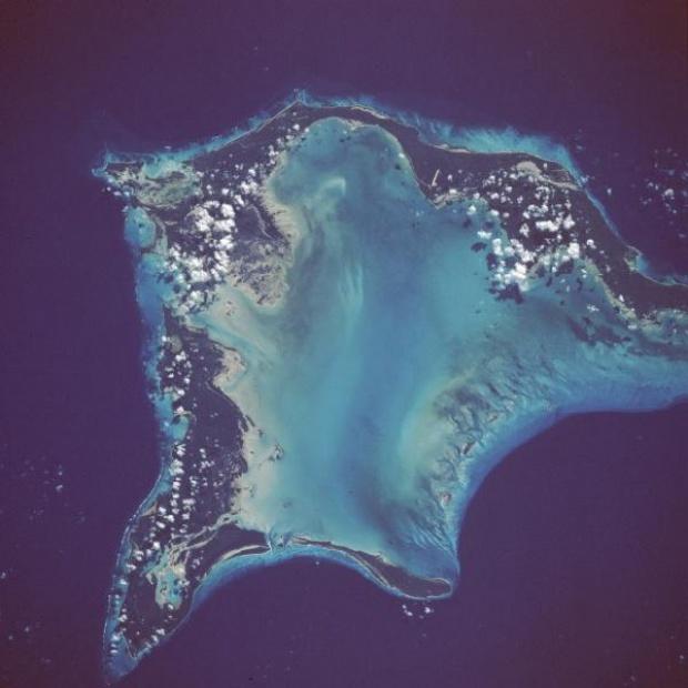Foto, Imagen Satélite de las Islas Crooked e Acklins, Bahamas