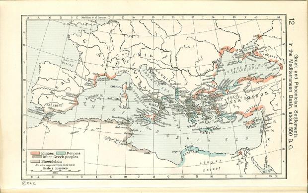 Griegos y Fenicios en el Mediterráneo c. 550 adC
