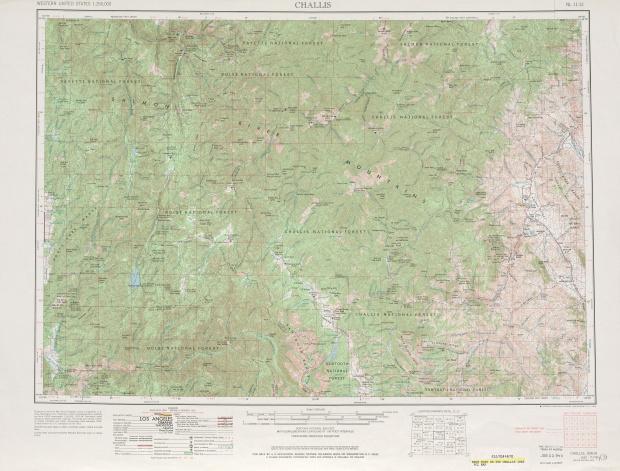 Hoja Challis del Mapa Topográfico de los Estados Unidos 1963