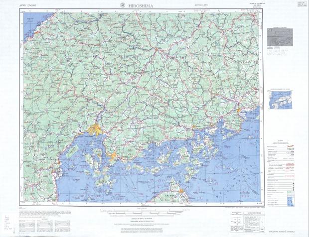 Hoja Hiroshima del Mapa Topográfico de Japón 1954