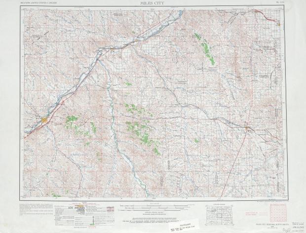 Hoja Miles City del Mapa Topográfico de los Estados Unidos 1965