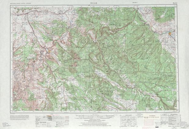 Hoja Moab del Mapa Topográfico de los Estados Unidos 1969