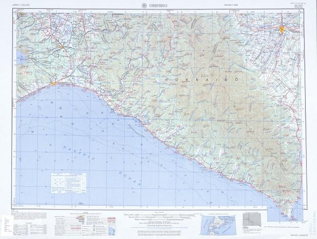 Hoja Obihiro del Mapa Topográfico de Japón 1954