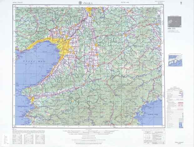 Hoja Osaka del Mapa Topográfico de Japón 1954