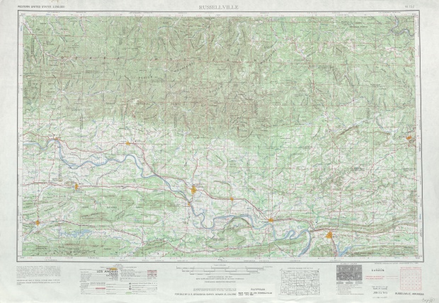 Hoja Russelville del Mapa Topográfico de los Estados Unidos 1953