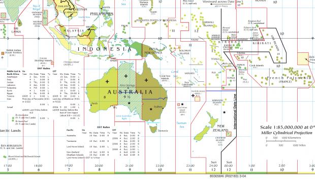 Husos horarios o zonas horarias de Oceanía