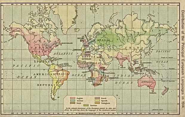 Idiomas europeos en el Mundo 1914