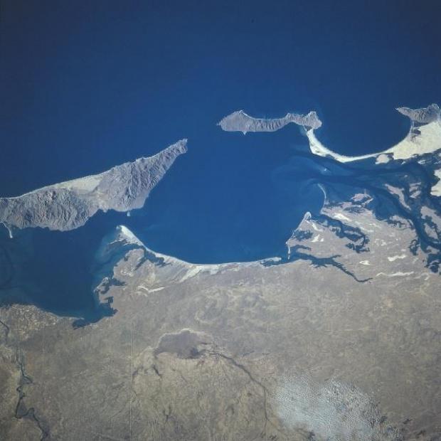 Imagen, Foto Satelite de Bahia Magdalena, Isla Santa Margarita, Baja California Sur, Mexico
