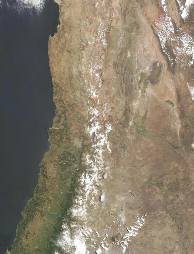 Imagen, Foto Satelite de Chile Central, América del Sur