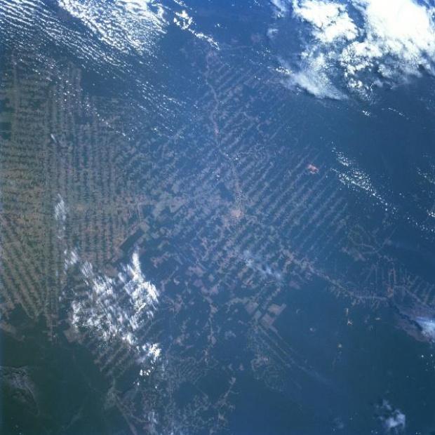 Imagen, Foto Satelite de Ciudad de Ariquemes, Deforestación, Rondonia, Brasil