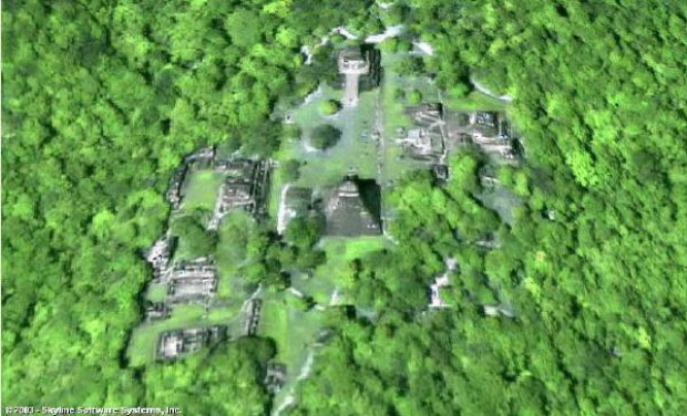 Imagen, Foto Satelite de Tikal, Guatemala