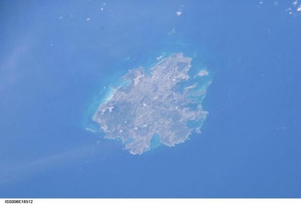 Imagen, Foto Satelite de la Isla de Antigua, (Antigua y Barbuda)