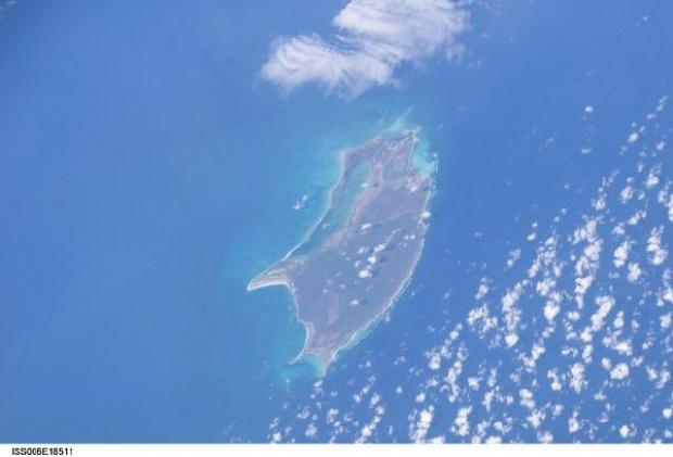Imagen, Foto Satelite de la Isla de Barbuda (Antigua y Barbuda)