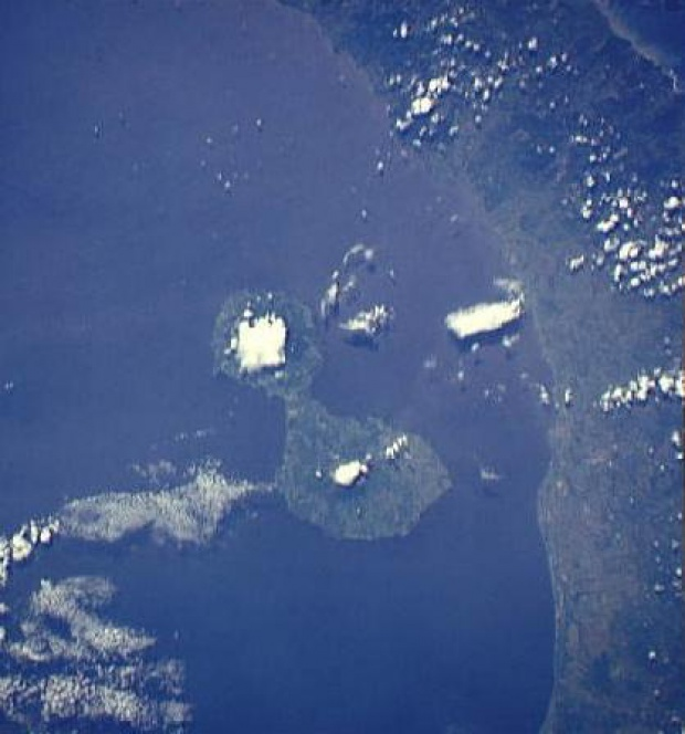 Imagen, Foto Satelite de la Isla de Ometepe, Rivas, Nicaragua