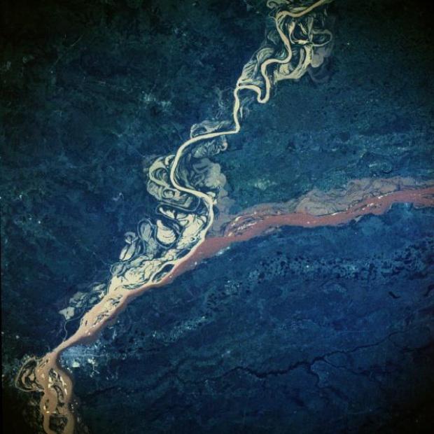 Imagen, Foto Satelite de los Rios Parana y Paraguay, Argentina y Paraguay