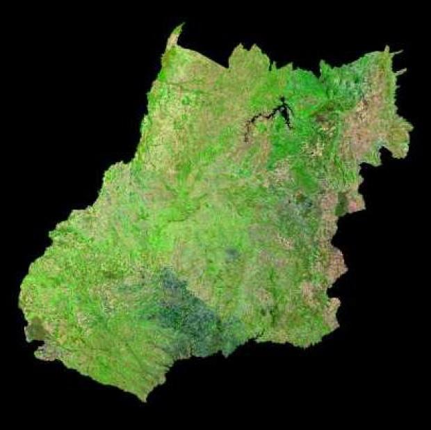 Imagen, Foto Satelite del Estado de Goiás y del Distrito Federal, Brasil