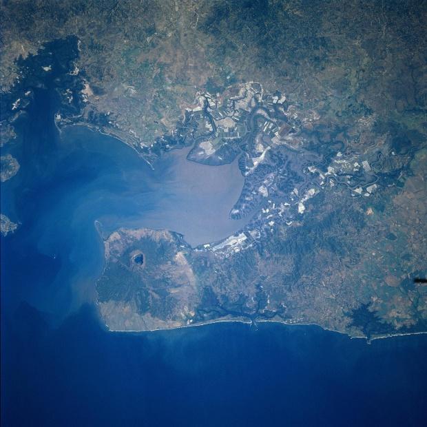 Imagen, Foto Satelite del Golfo de Fonseca y del Volcan Cosiguina, Nicaragua