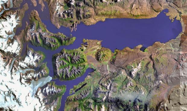 Imagen, Foto Satelite del Lago Argentino, Prov. Santa Cruz, Argentina