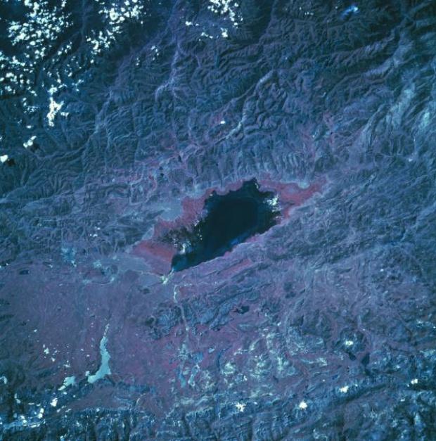 Imagen, Foto Satelite del Lago Junin, Cordillera de los Andes, Peru