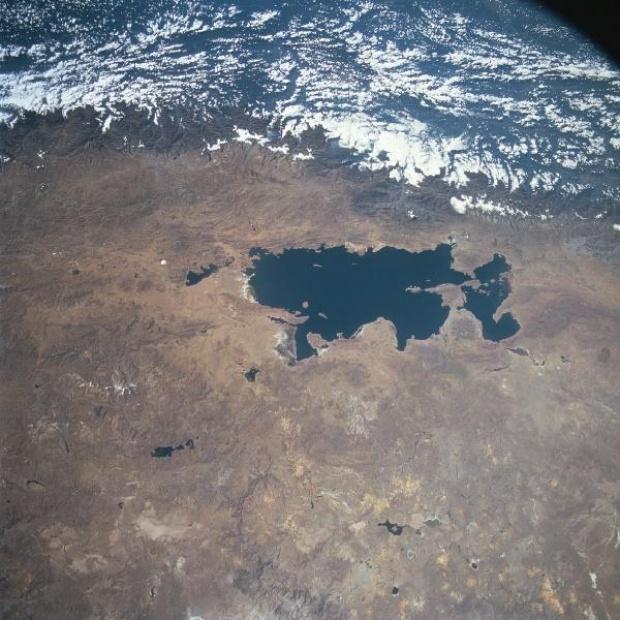 Imagen, Foto Satelite del Lago Titicaca, Peru y Bolivia