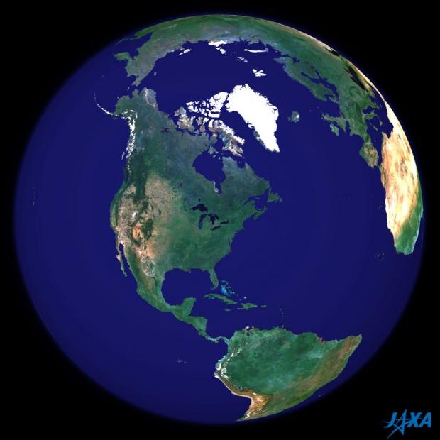 Imagen esférica de la tierra centrada en América del Norte