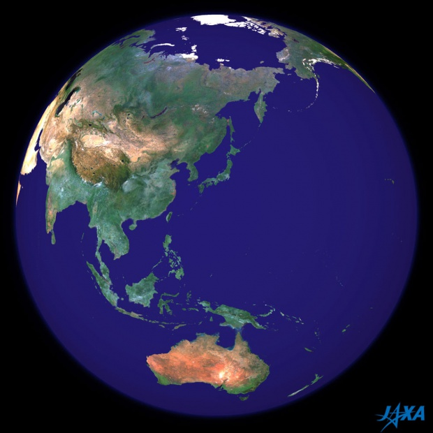 Imagen esférica de la tierra centrada en Japón